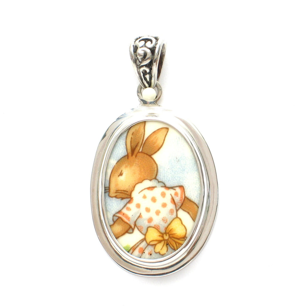 Broken China Jewelry Bunnykins Girl Bunny Rabbit w Polka Dot Dress & Bow Sterling Pendant - Vintage Belle Broken China Jewelry
