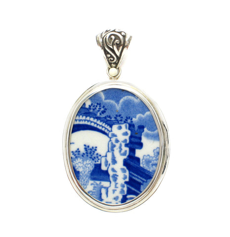 Broken China Jewelry Spode Blue Italian Architecture Sterling Pendant - Vintage Belle Broken China Jewelry