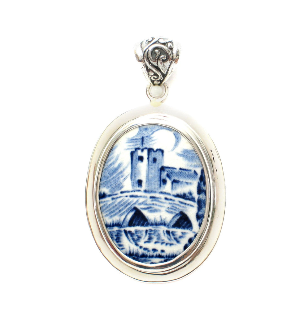 Broken China Jewelry Enoch Wedgwood Countryside Blue & White Castle Sterling Pendant - Vintage Belle Broken China Jewelry