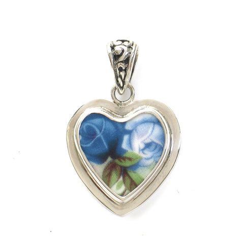 Broken China Jewelry Moonlight Roses Light Dark Blue Sterling Small Heart Pendant - Vintage Belle Broken China Jewelry