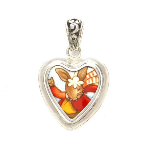 Broken China Jewelry Bunnykins Winter Bunny Rabbit Playing in the Snow Sterling Heart Pendant - Vintage Belle Broken China Jewelry