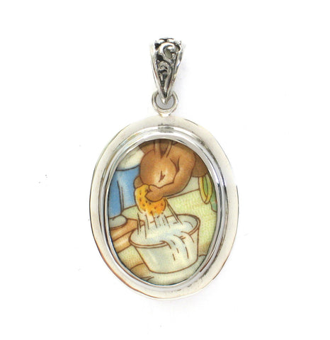 Broken China Jewelry Royal Doulton Bunnykins Bunny Rabbit Wasing Up Sterling Oval Pendant - Vintage Belle Broken China Jewelry