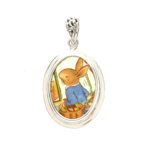 Broken China Jewelry Royal Doulton Bunnykins Bunny Rabbit at the Market Stelring Oval Pendant - Vintage Belle Broken China Jewelry