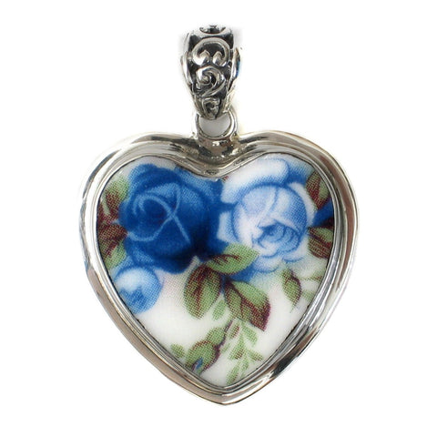 Broken China Jewelry Moonlight Roses Light Dark Blue Sterling Heart Pendant