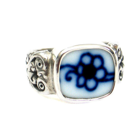 Size 10 Broken China Jewelry Blue Danube Single Flower Sterling Ring - Vintage Belle Broken China Jewelry