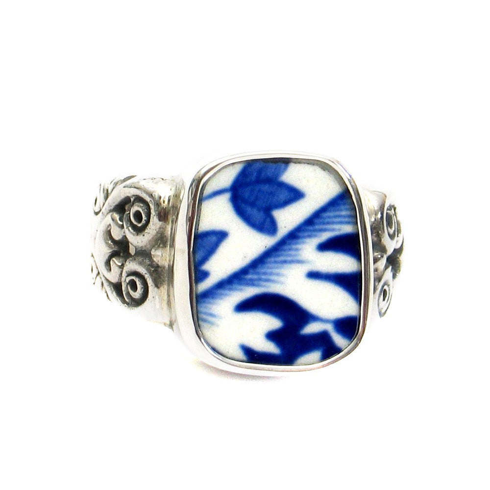 Size 8 Broken China Jewelry Spode Blue Italian C Scroll Sterling Ring - Vintage Belle Broken China Jewelry