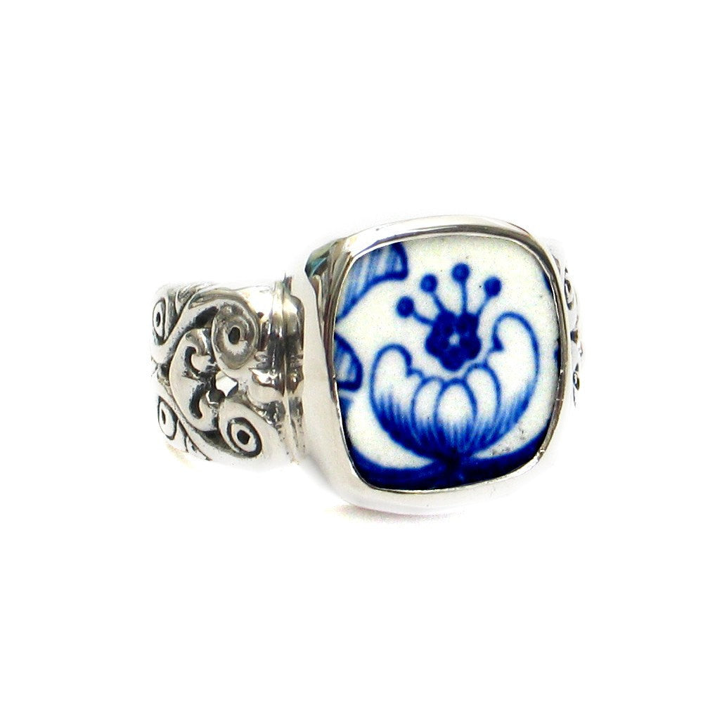Size 10 Broken China Jewelry Spode Blue Italian R Sterling Ring - Vintage Belle Broken China Jewelry