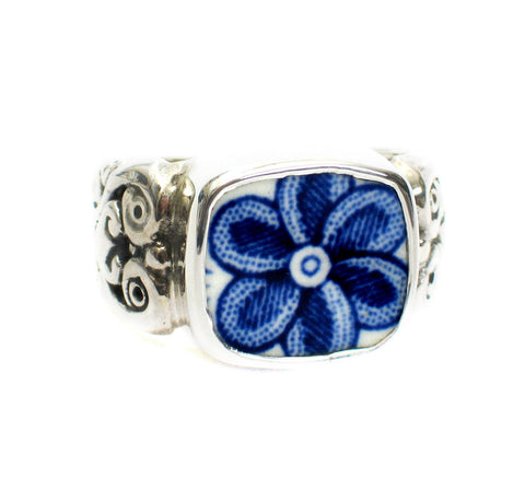 Size 11 Broken China Jewelry Myott Finlandia Blue Flower Closeup Sterling Ring - Vintage Belle Broken China Jewelry