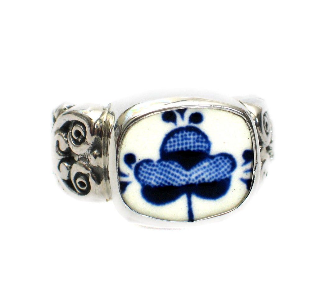 Size 8 Broken China Jewelry Myott Finlandia Blue Flowers Sterling Ring - Vintage Belle Broken China Jewelry