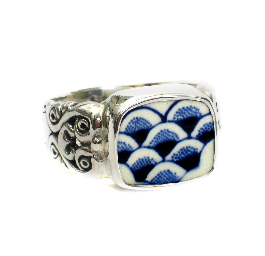 Size 12 Broken China Jewelry Myott Finlandia Blue Wide Scallops Sterling Ring - Vintage Belle Broken China Jewelry