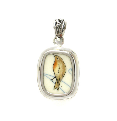 Broken China Jewelry Beatrix Potter Garden Robin Bird Sterling Pendant - Vintage Belle Broken China Jewelry