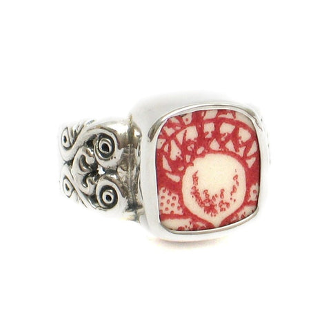 Size 8 Broken China Jewelry Memory Lane Red White Acorn D Silver Sterling Ring - Vintage Belle Broken China Jewelry