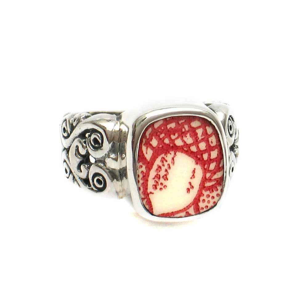 Size 8 Broken China Jewelry Memory Lane Red White Acorn E Silver Sterling Ring - Vintage Belle Broken China Jewelry