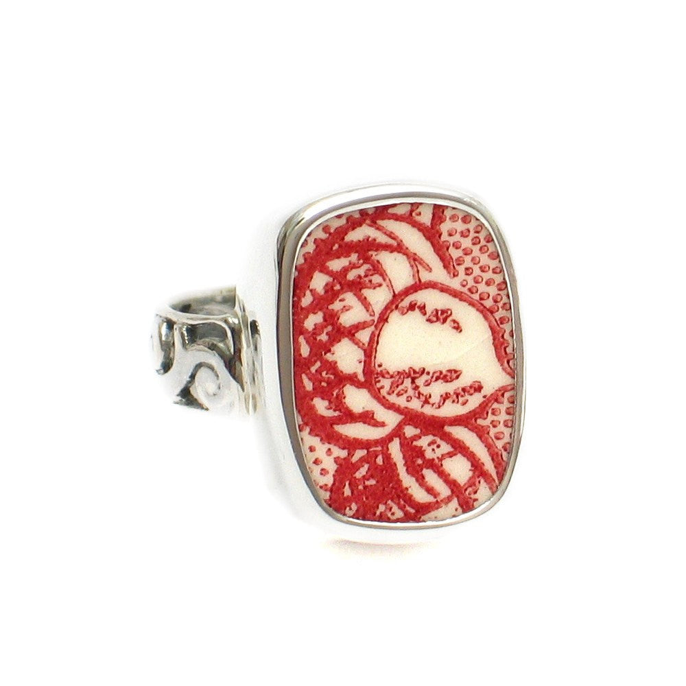 Size 7 Broken China Jewelry Memory Lane Red White Acorn A Silver Sterling Ring - Vintage Belle Broken China Jewelry