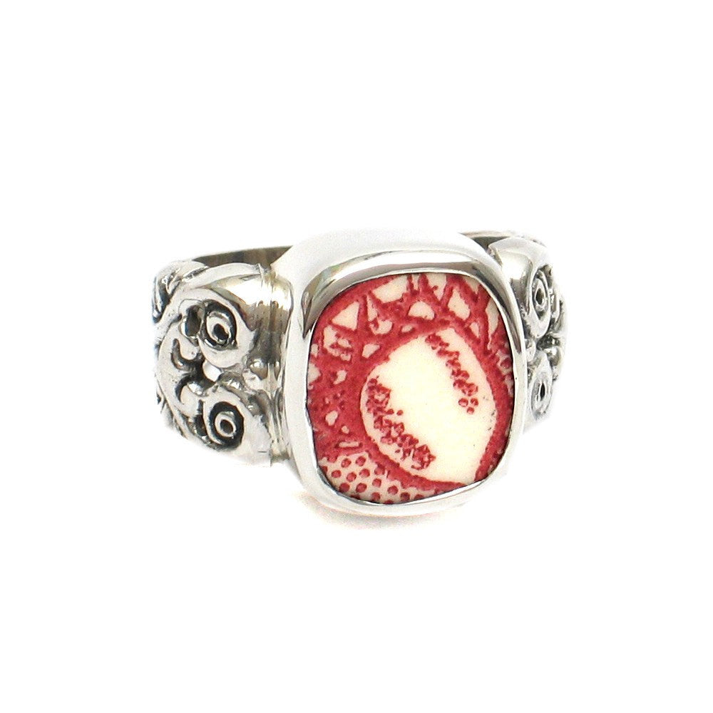 Size 8 Broken China Jewelry Memory Lane Red White Acorn F Silver Sterling Ring - Vintage Belle Broken China Jewelry