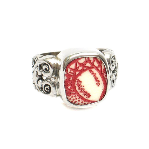 Size 9 Broken China Jewelry Memory Lane Red White Acorn F Silver Sterling Ring - Vintage Belle Broken China Jewelry