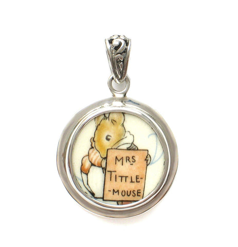Broken China Jewelry Beatrix Potter Mrs. Tittle Mouse C Sterling Pendant - Vintage Belle Broken China Jewelry