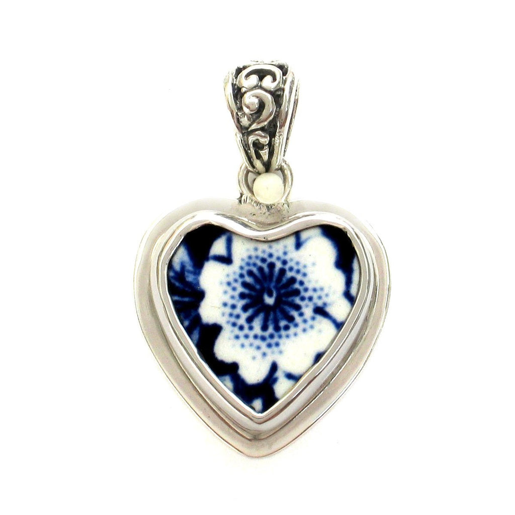 Broken China Jewelry Burleigh Blue Calico Flower Sterling Small Heart C Pendant - Vintage Belle Broken China Jewelry