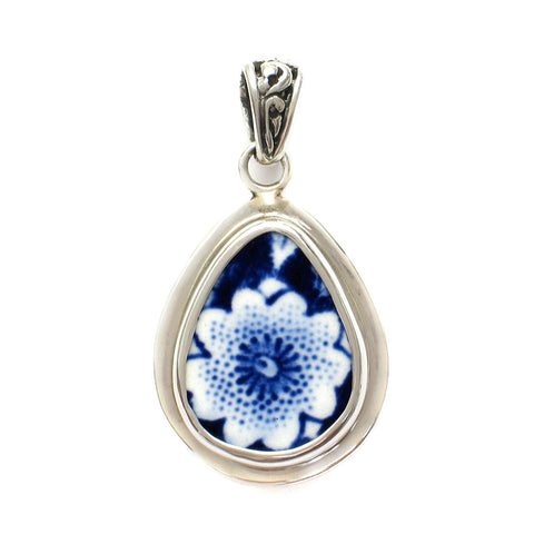 Broken China Jewelry Burleigh Blue Calico Single Flower D Sterling Silver Small Drop Pendant - Vintage Belle Broken China Jewelry