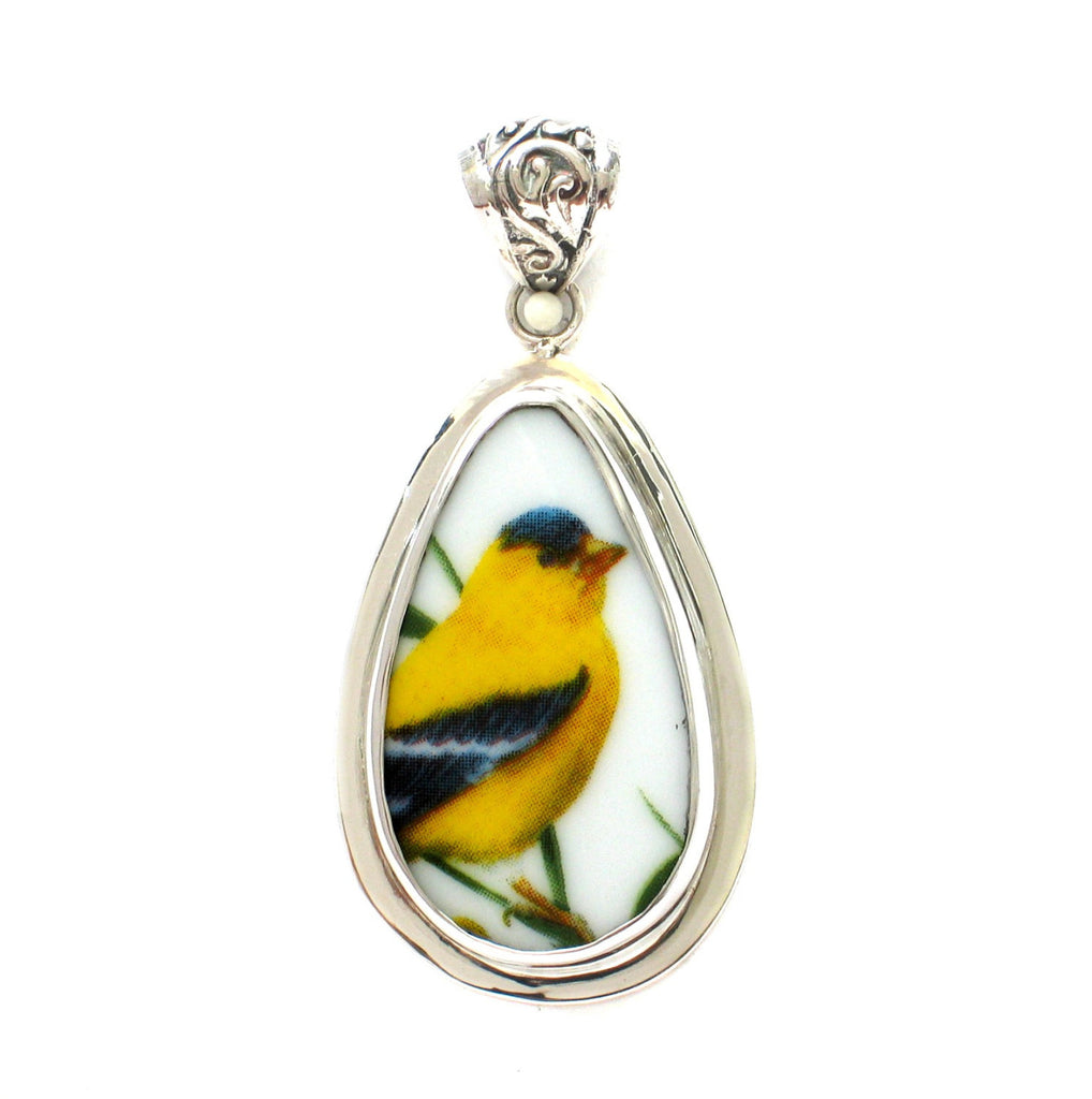 Broken China Jewelry American Goldfinch Garden Bird D Sterling Drop Pendant - Vintage Belle Broken China Jewelry