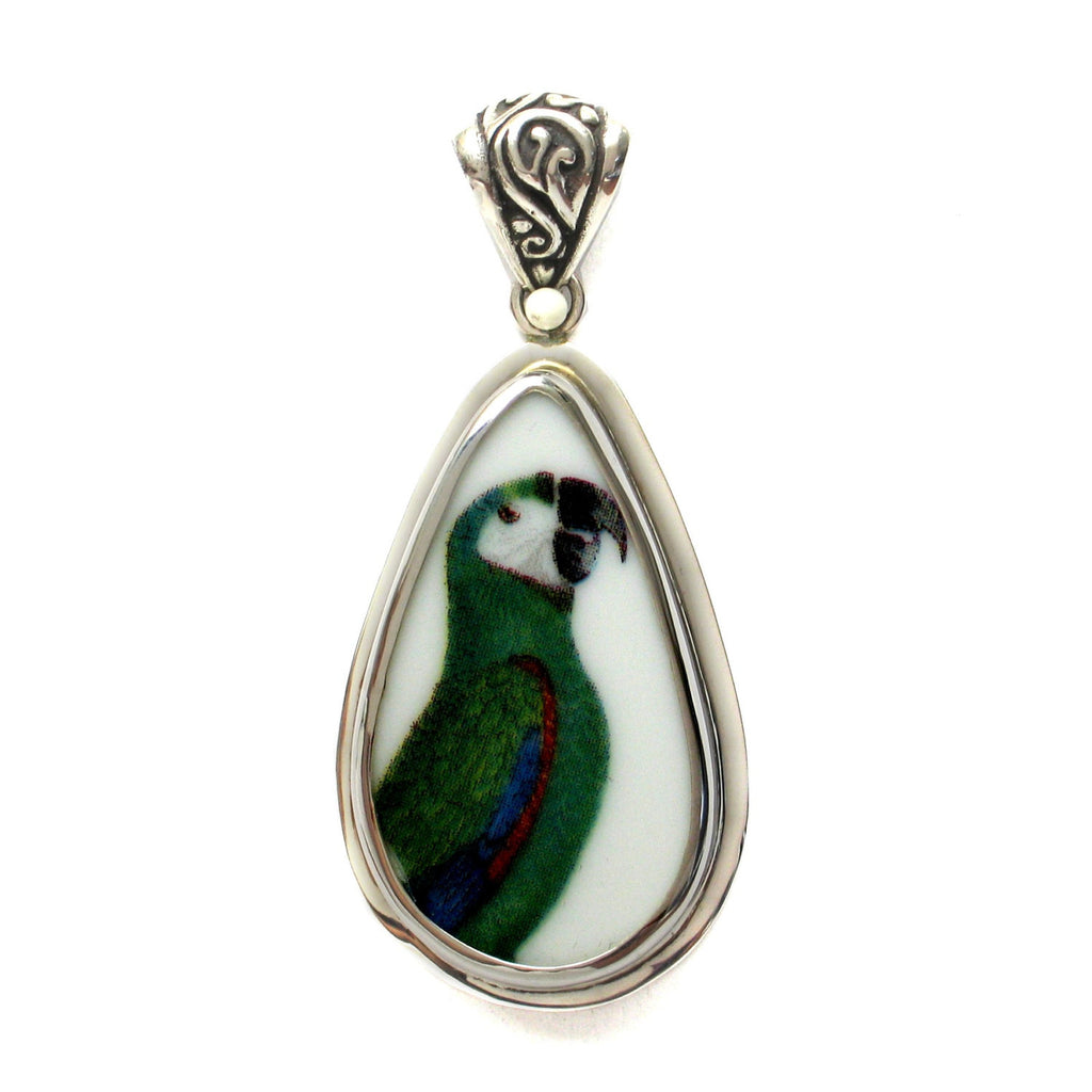Broken China Jewelry Green Parrot Bird Right Facing Sterling Drop Pendant - Vintage Belle Broken China Jewelry