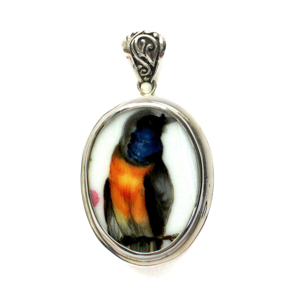 Broken China Jewelry Blue Orange Bird Sterling Oval Pendant Oriole - Vintage Belle Broken China Jewelry