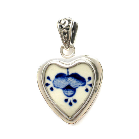 Broken China Jewelry Myott Finlandia Blue and White Flower Sterling Heart Pendant - Vintage Belle Broken China Jewelry