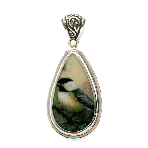 Broken China Jewelry Chickadee Bird B Sterling Drop Pendant - Vintage Belle Broken China Jewelry