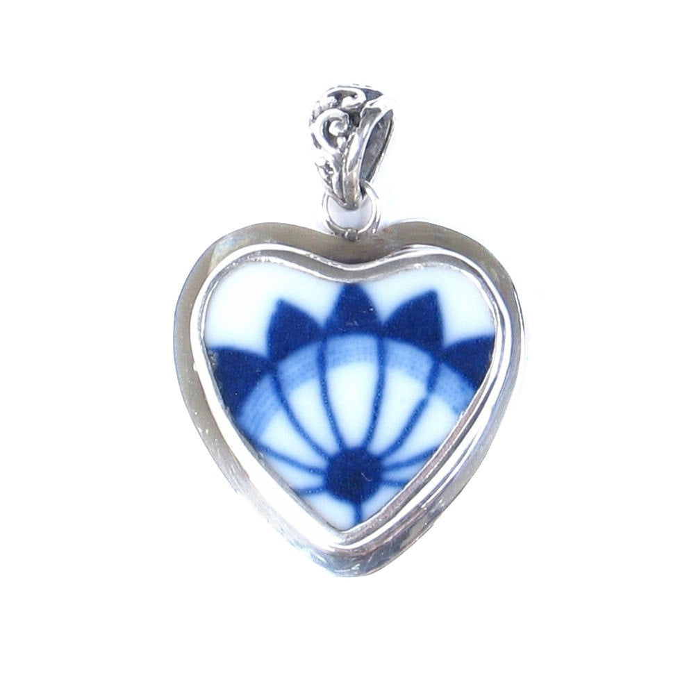 Broken China Jewelry Blue Danube Fan Sterling Heart Pendant