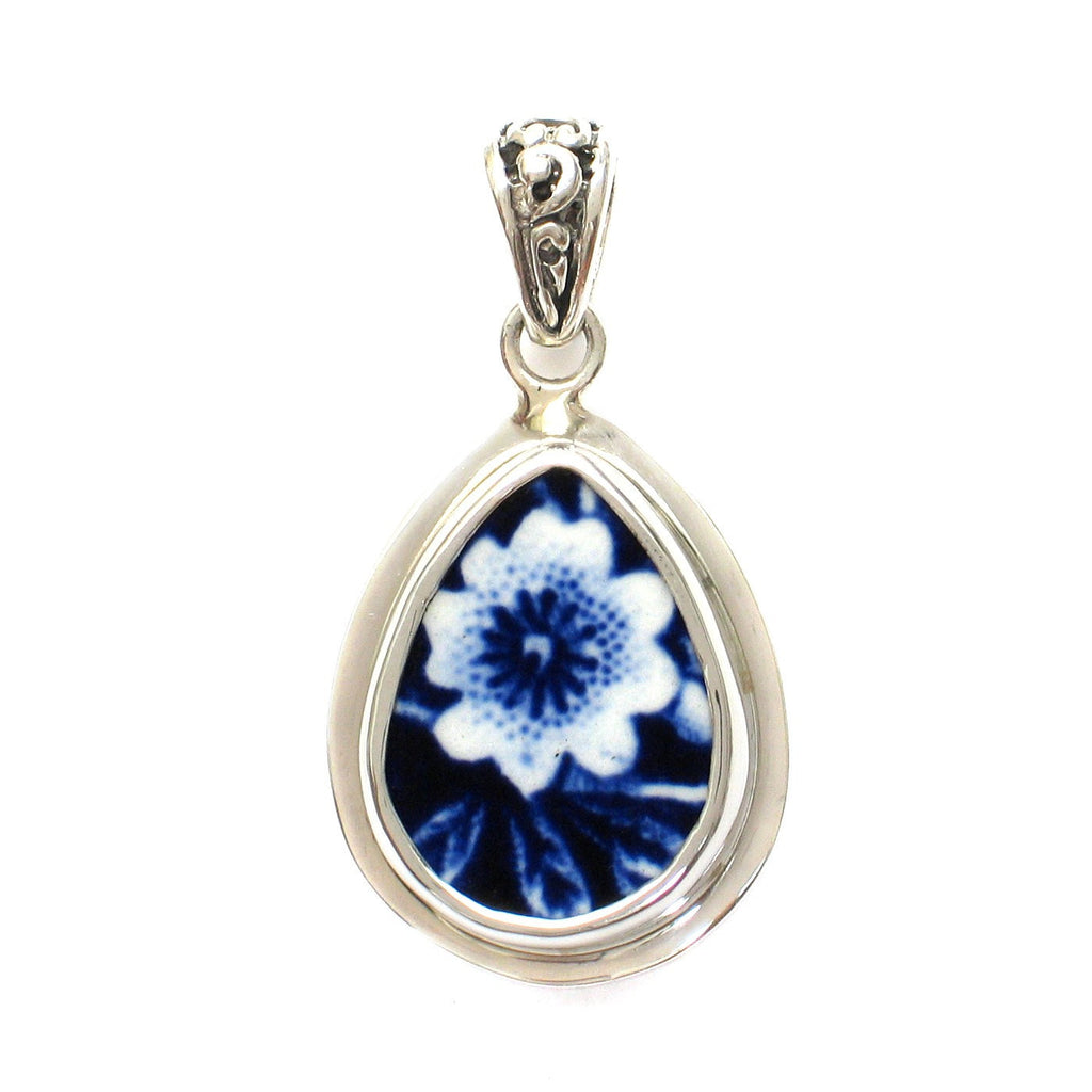 Broken China Jewelry Burleigh Blue Calico Single Flower E Sterling Silver Small Drop Pendant - Vintage Belle Broken China Jewelry