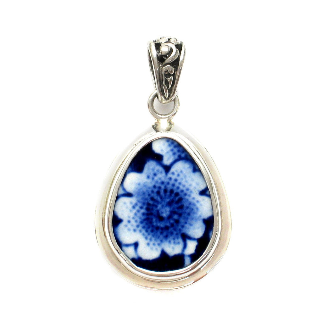 Broken China Jewelry Burleigh Blue Calico Single Flower F Sterling Silver Small Drop Pendant - Vintage Belle Broken China Jewelry
