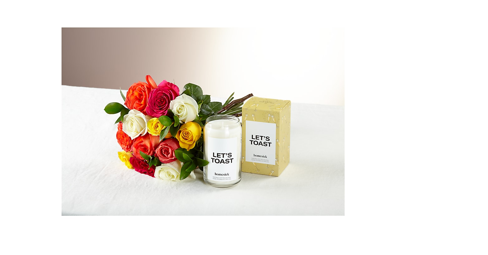 Mixed Roses & Let's Toast Homesick Candle - Image 1 Of 2