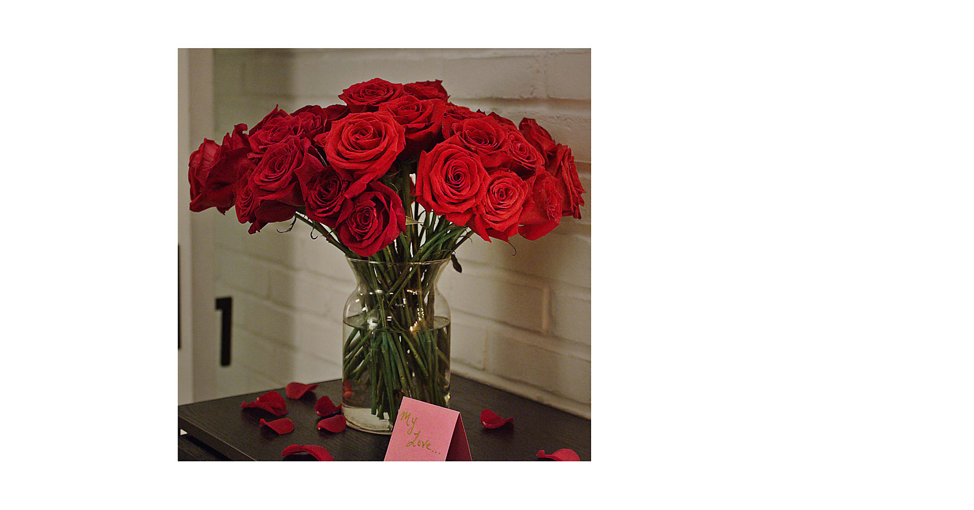 24 Red Roses with Glass Vase - Image 1 Of 3