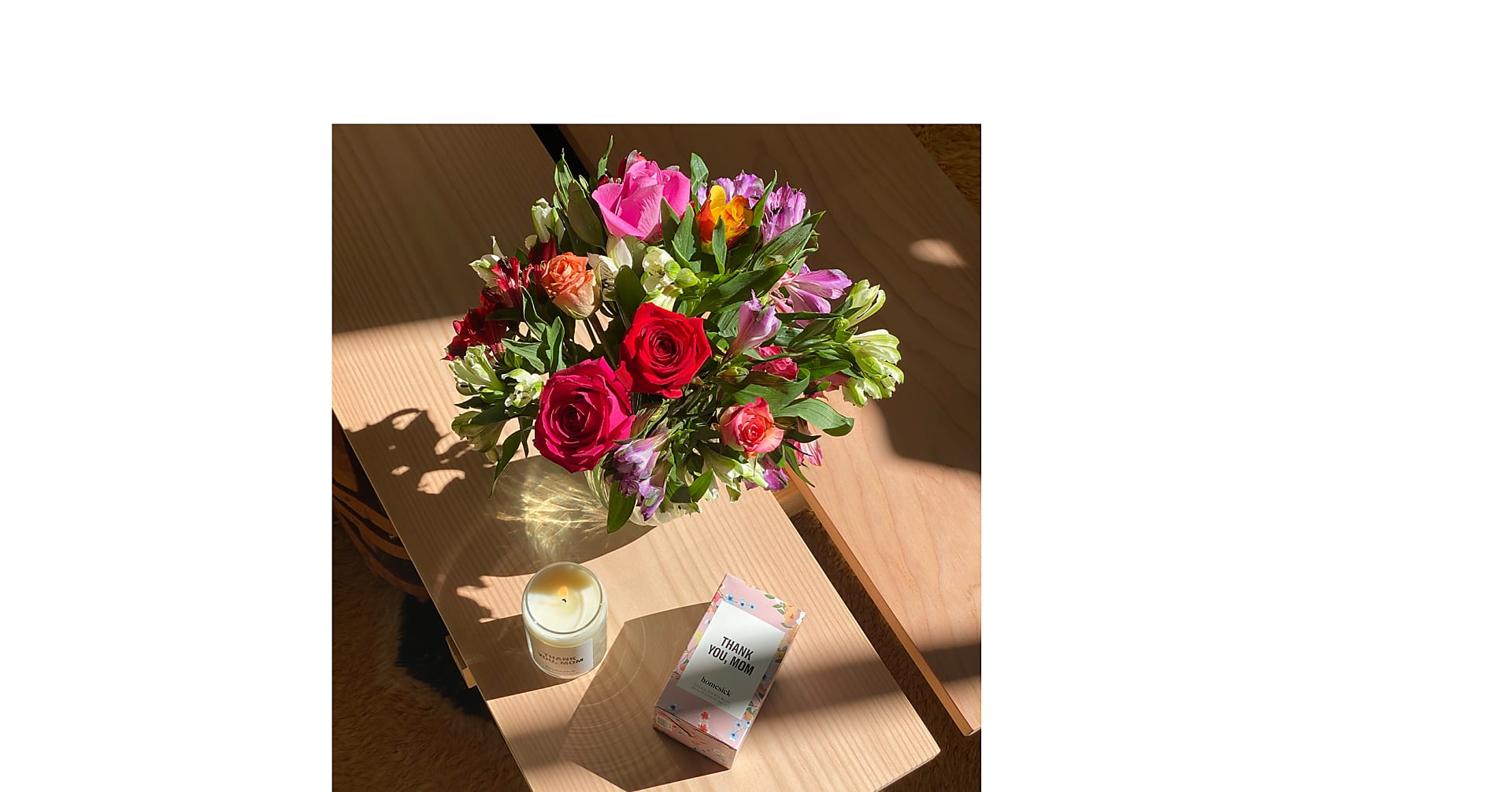 Smiles & Sunshine Bouquet and Homesick Candle
