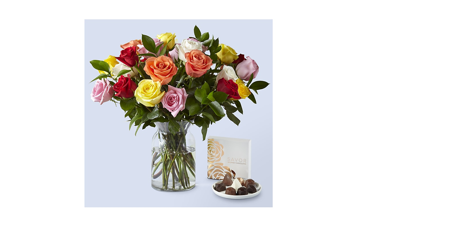 One Dozen Assorted Roses with Glass Vase and Box of Chocolates