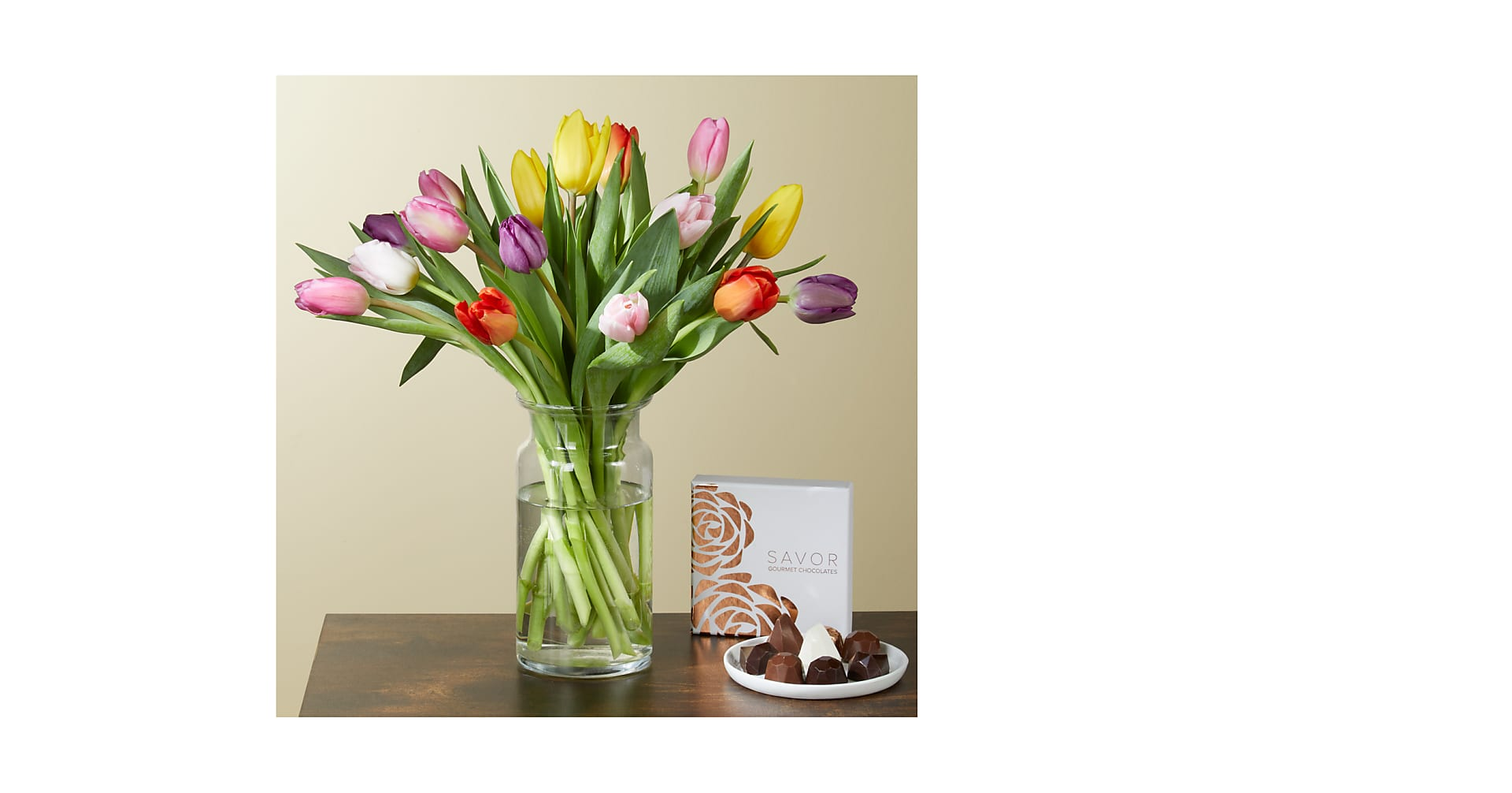 Spring Breeze Tulips and Chocolates Gift Set