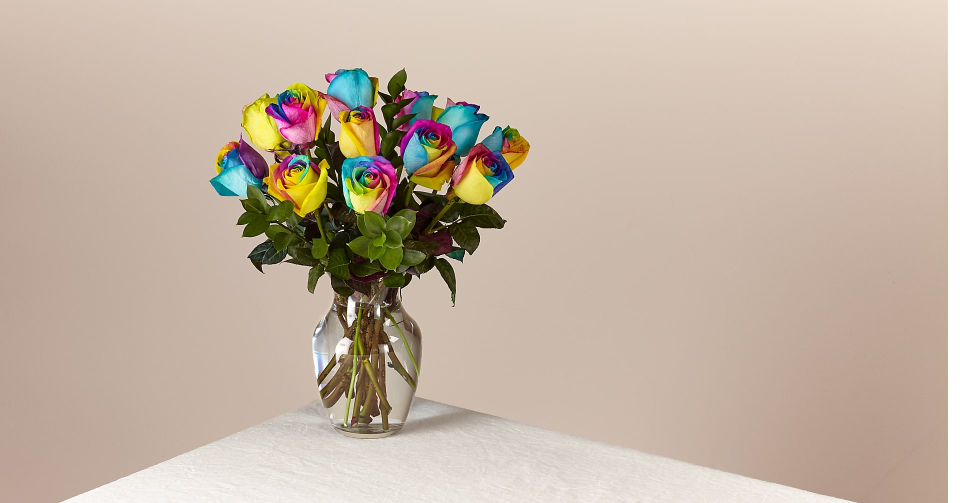 Time to Celebrate Rainbow Rose Bouquet - 12 Stems - VASE INCLUDED - Image 1 Of 3