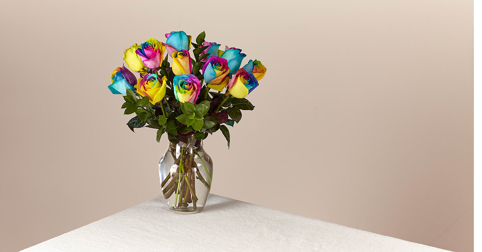 Rainbow Rose Bouquet 12 Stem With Vase - Image 1 Of 2