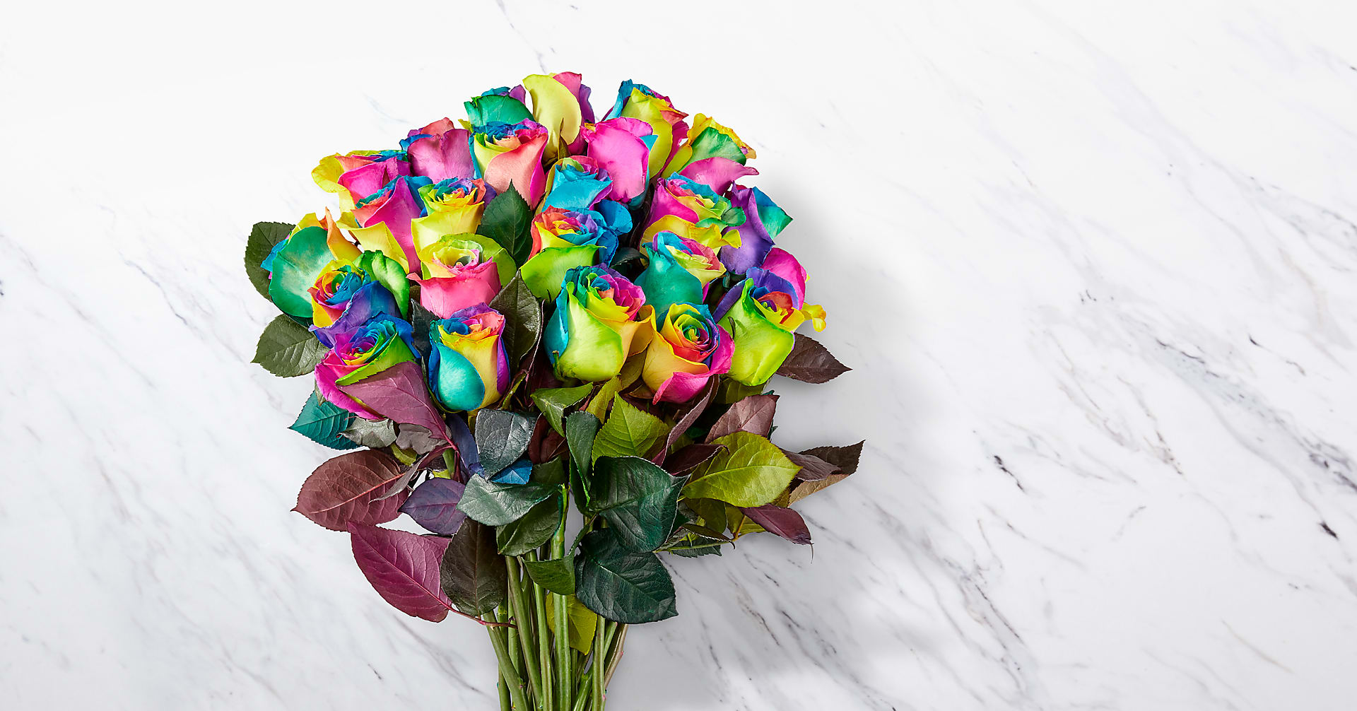 Time to Celebrate Rainbow Rose Bouquet - 24 Stems with Vase - Image 2 Of 4
