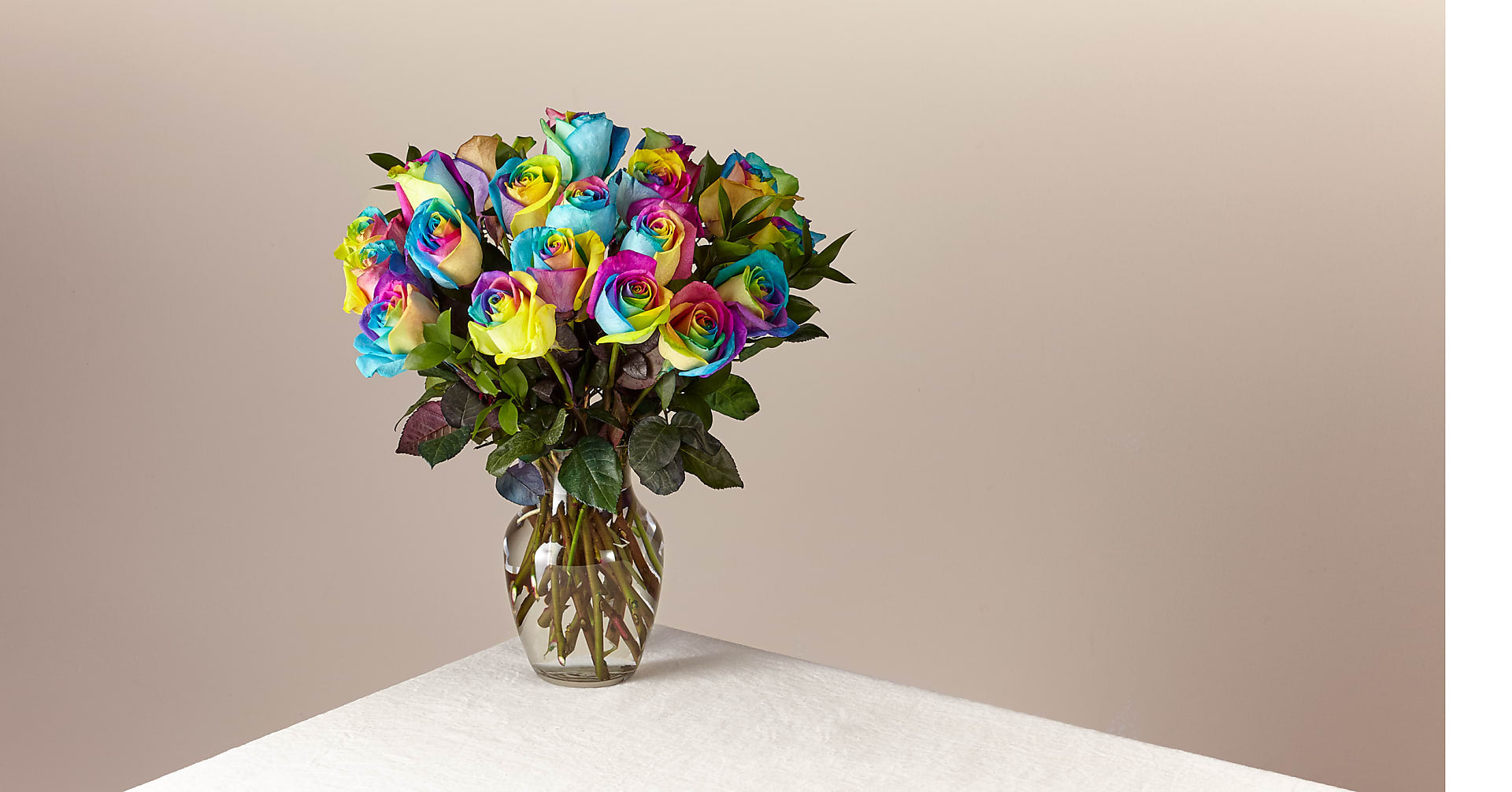Time to Celebrate Rainbow Rose Bouquet - 24 Stems with Vase - Image 1 Of 4