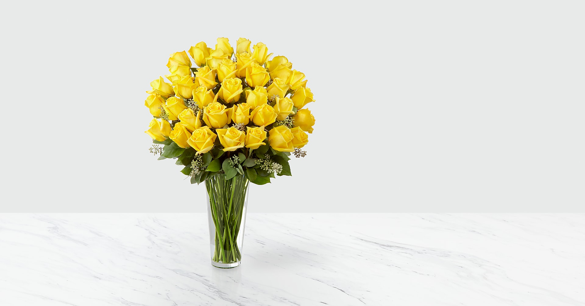 The Yellow Rose Bouquet - 36 Stems - VASE INCLUDED - Image 1 Of 2