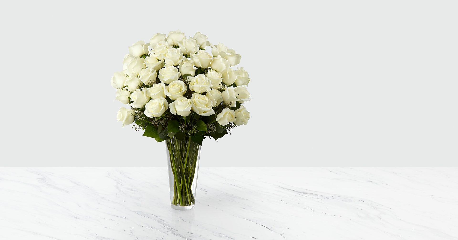 The White Rose Bouquet - 36 Stems - VASE INCLUDED - Image 1 Of 2