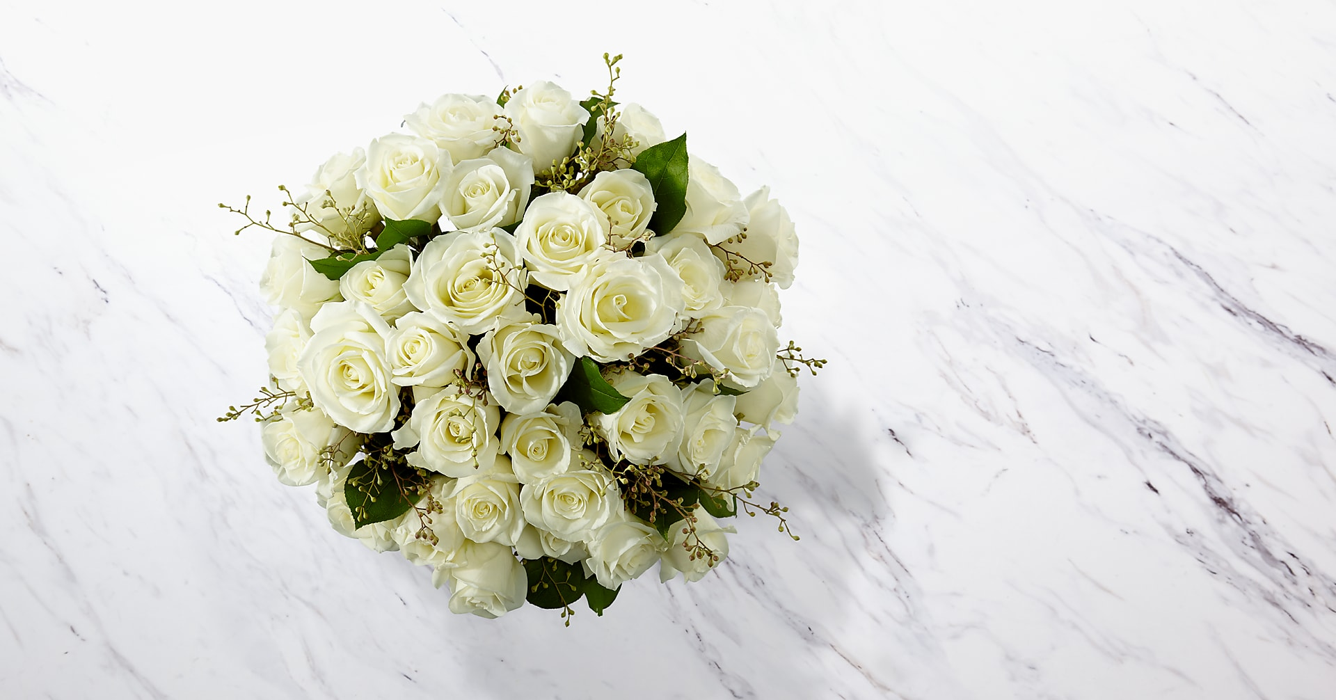 The White Rose Bouquet - 36 Stems - VASE INCLUDED - Image 2 Of 2