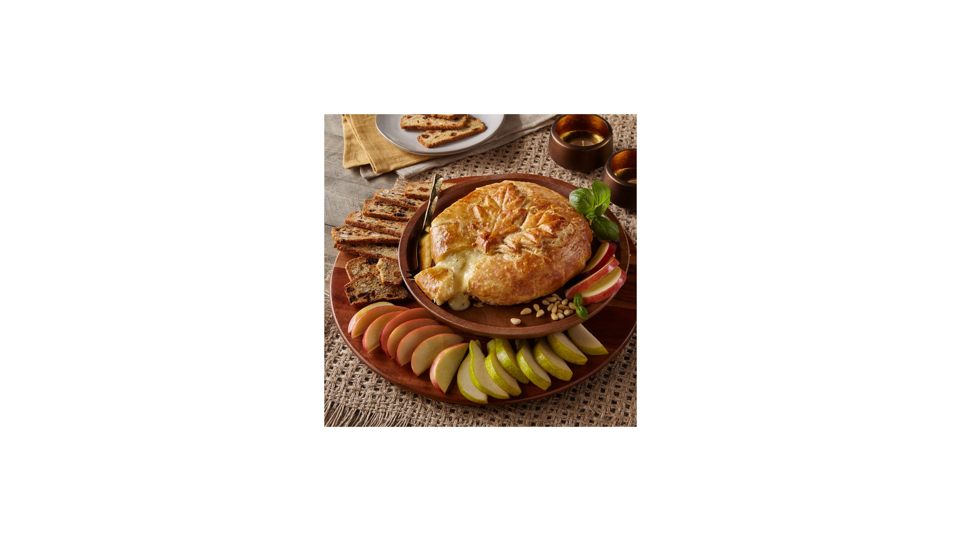 Baked Brie Garlic, Basil and Pine Nut