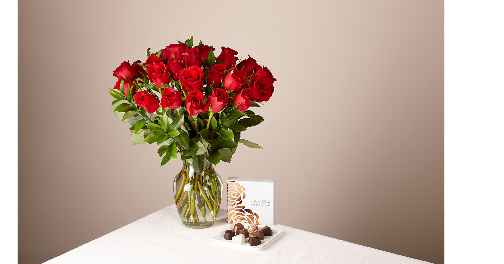 Two Dozen Red Roses and Chocolates