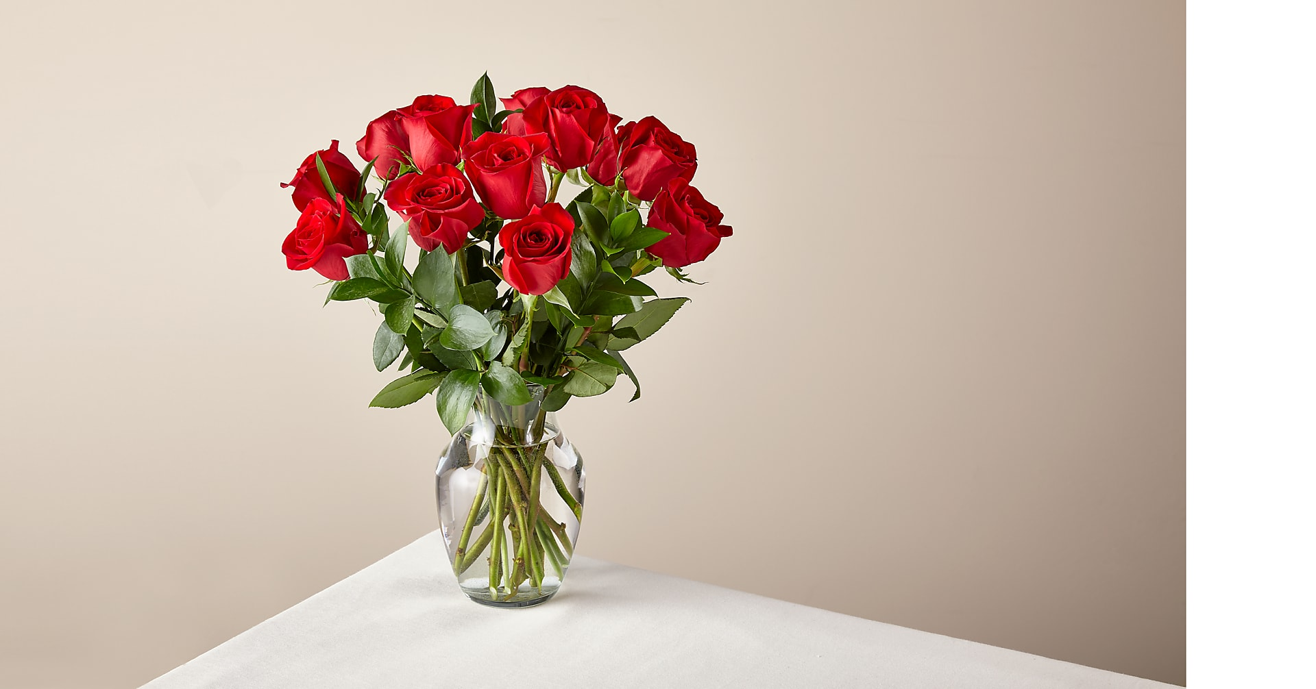 12 Red Roses with Glass Vase - Image 1 Of 4