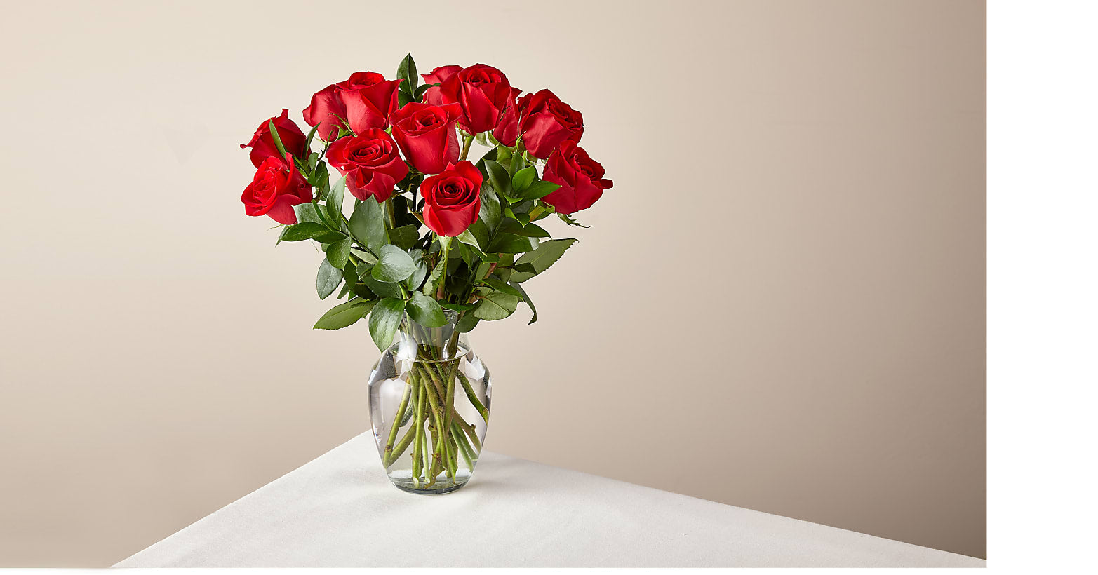 12 Red Roses with Vase - Image 1 Of 2