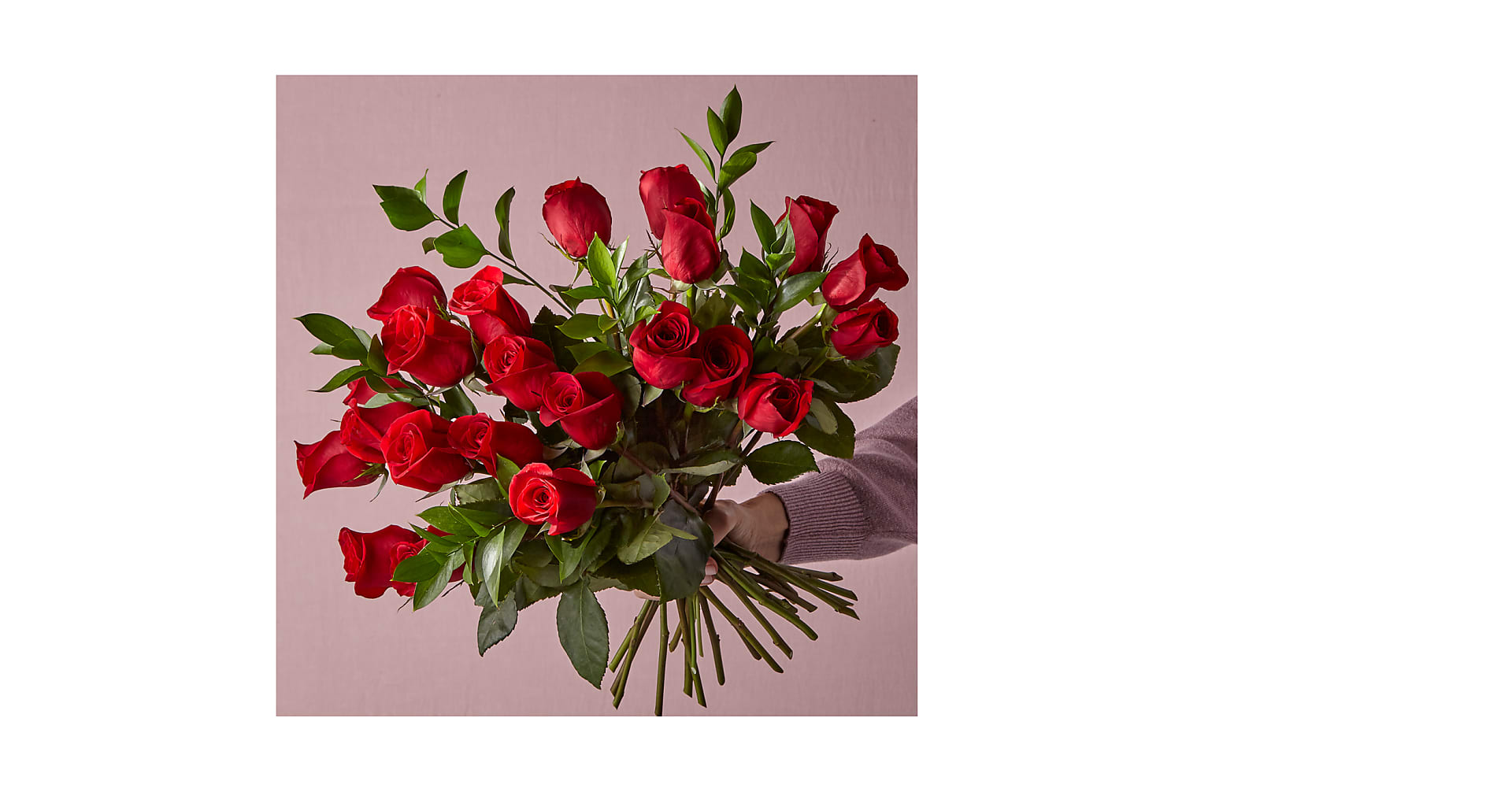 24 Long Stem Red Roses with Glass Vase - Image 2 Of 5