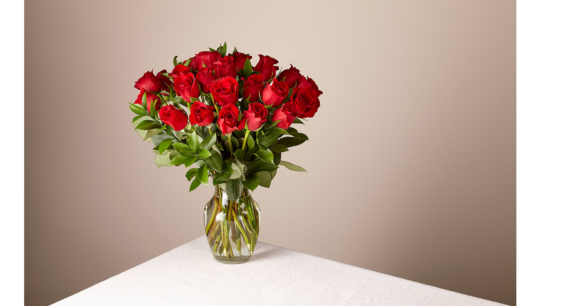 24 Long Stem Red Roses with Glass Vase - Image 1 Of 5