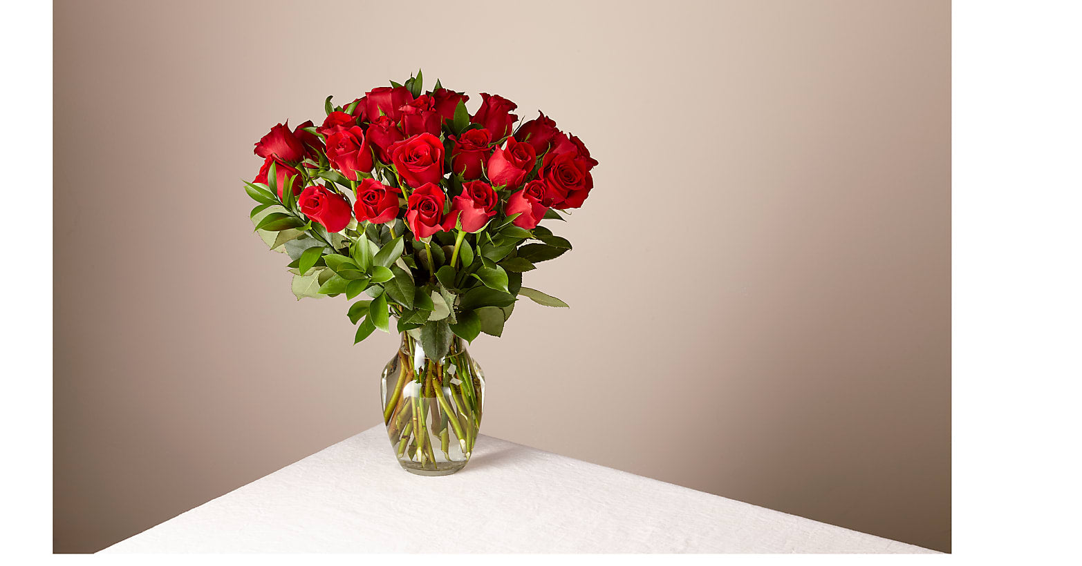 24 Red Roses with Glass Vase - Image 1 Of 5